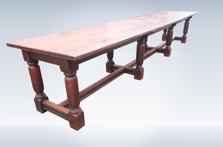 Antique Refectory Table 14ft Long Of 17th Century Charles II Design