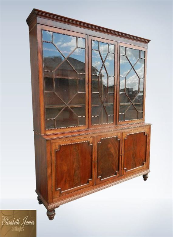 Antique Regency Mahogany Library Bookcase With Astragal Glazed Top & Cupboards Below