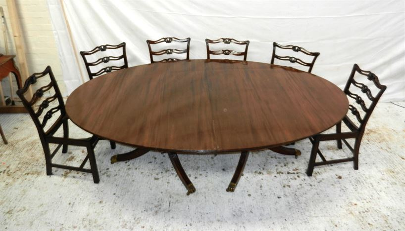 antique furniture warehouse antique regency oval pedestal table extremely large regency. Black Bedroom Furniture Sets. Home Design Ideas