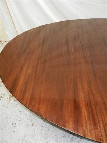 Antique Regency Oval Pedestal Table - Extremely Large Regency Revival Pedestal Dining Table To Seat 10 To 12 People
