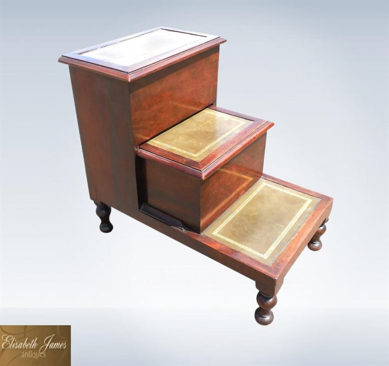 Antique Regency Period Mahogany Library Steps With Lidded Boxes