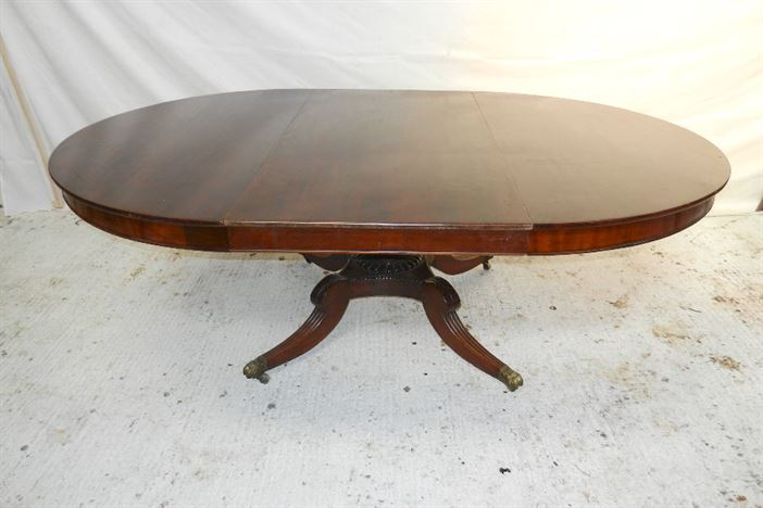 Antique Regency Round Extending Table - Large 5ft Round Regency Table Extending To Oval To Seat 10 People