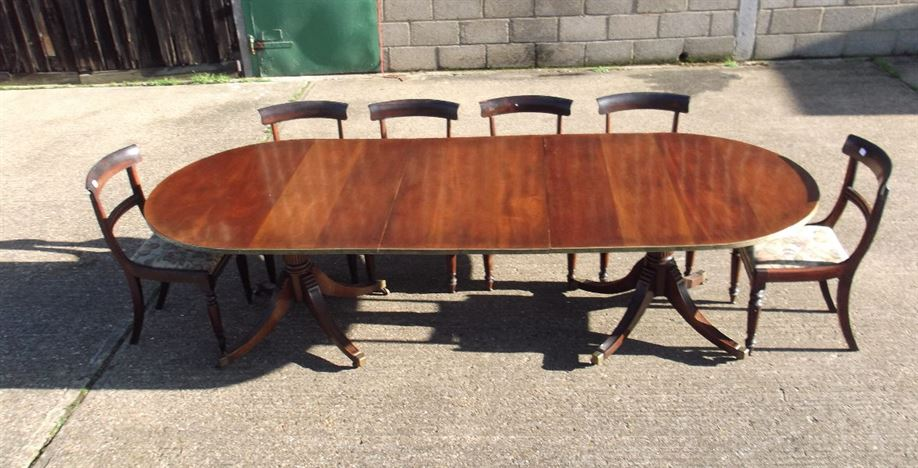 Antique Regency Twin Pedestal Table - Georgian Revival Mahogany Twin Pedestal Dining Table To Seat 10 Comfortably