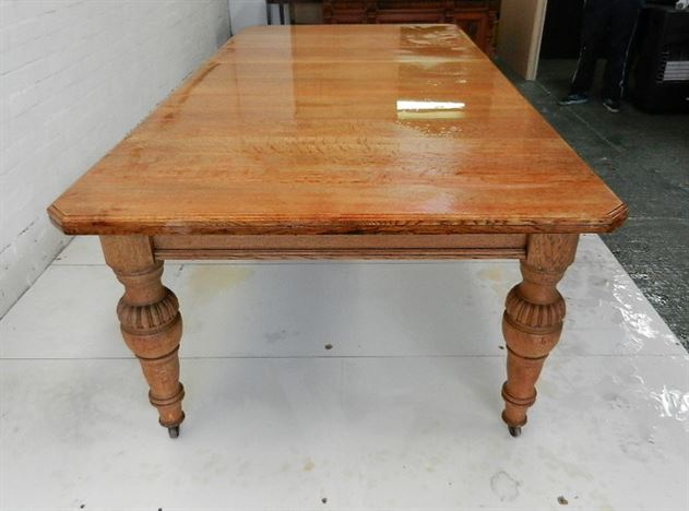 Antique Victorian Oak Dining Table - 8ft Two Leaf Extending Oak Victorian Wind Out Dining Table