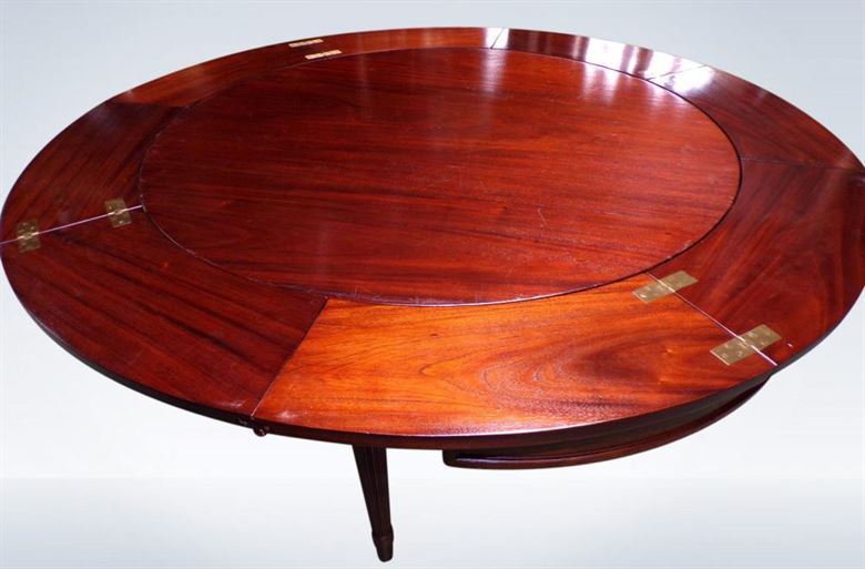 Antique Victorian Round Extending Mahogany Dining Table