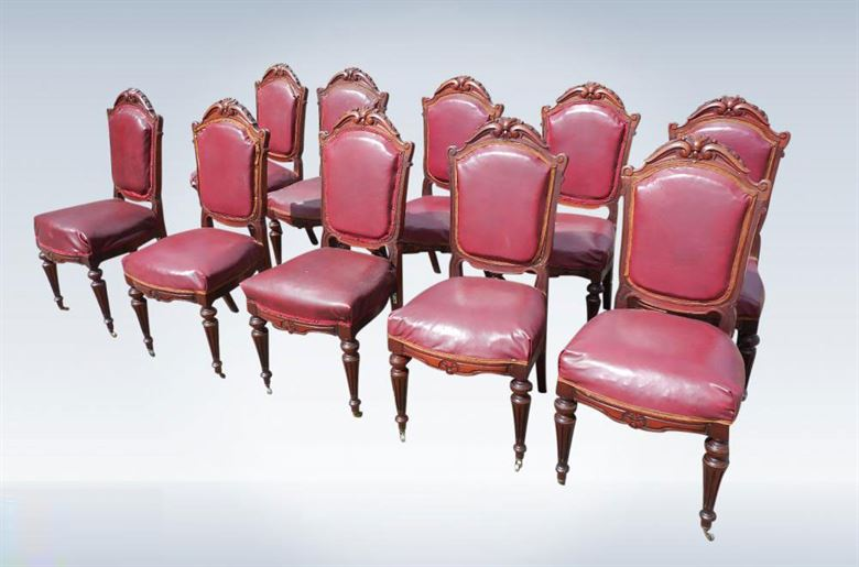 Antique Victorian Set Of Ten Dining Chairs With High Padded Backs