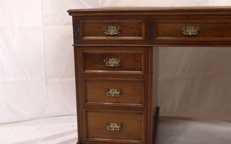 Antique Victorian Walnut Desk - Late 19th Century Walnut Pedestal Desk With Arts & Crafts Influence