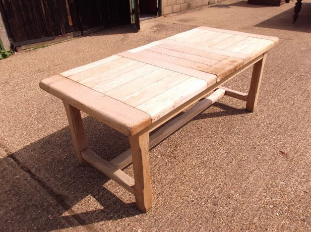 Antique Bleached Oak Refectory Table - Large Vintage 10ft Oak Drawleaf Refectory Table