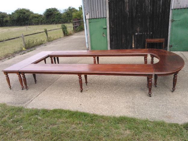 Antique Boardroom Conference Table - Large Victorian Mahogany Boardroom Meeting Table To Seat 20 People