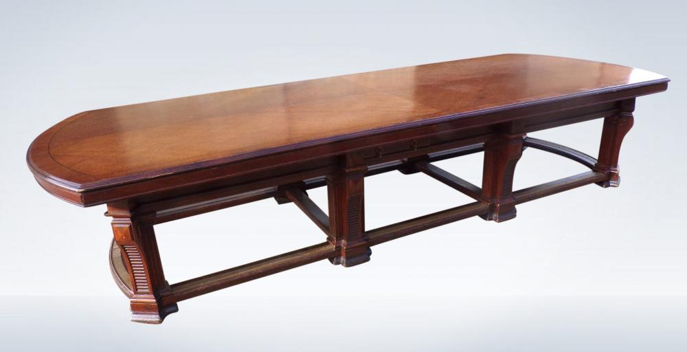 Antique Boardroom Meeting Table In Oak From Edwardian Period