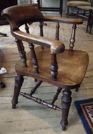 Genial Antique Captains Chair   19th Century Fruitwood Captains Chair