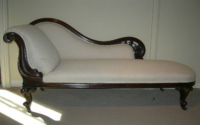 Antique Chaise Longue - Mid 19th Century Victorian Mahogany Chaise Longue  Left Hand Rest - Antique Chairs UK - Antique Occasional Chairs - Antique Armchairs