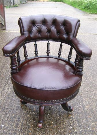 Antique Desk Chair - Late 19th Century Mahogany And Leather Revolving Desk  Chair - ANTIQUE FURNITURE WAREHOUSE - Antique Desk Chair - Late 19th