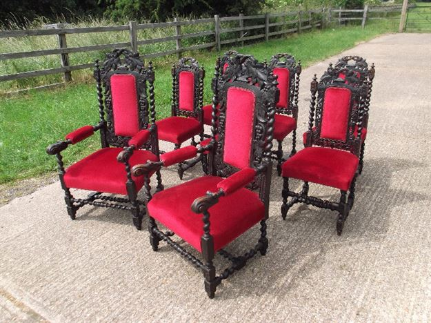 Antique Ding Chairs   Set Eight 8 Jacobean Oak Carved Dining Chairs With  Carvers