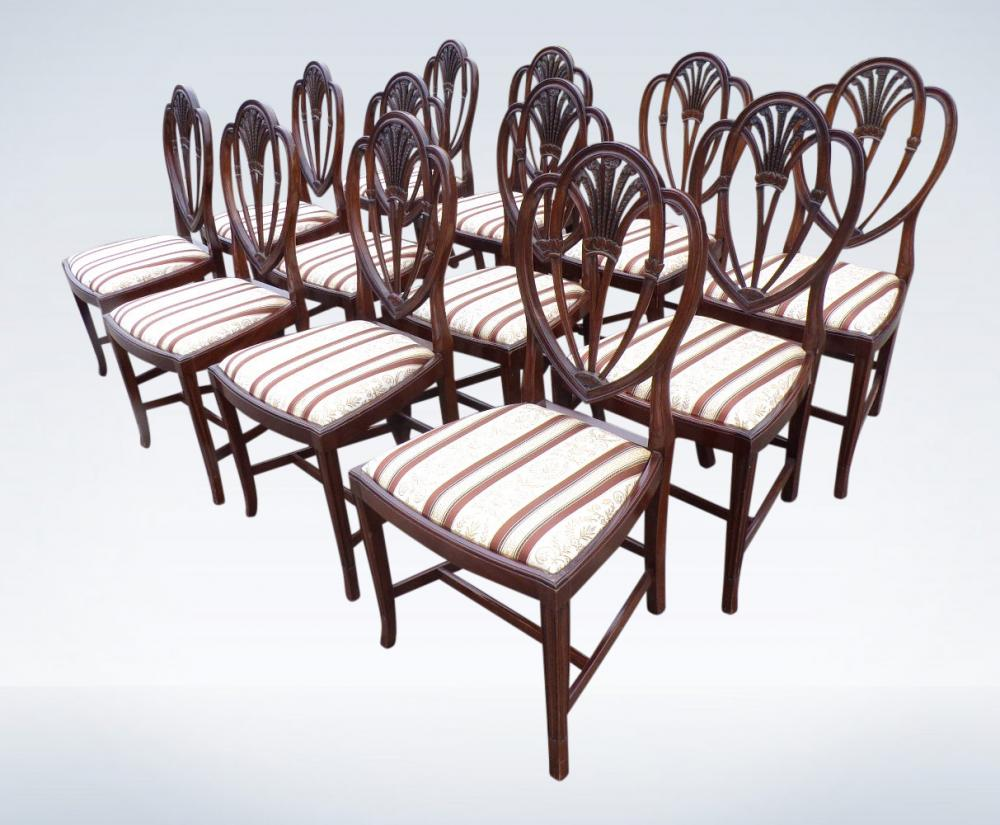 Antique Dining Chairs Set Of 12 Georgian Hepplewhite