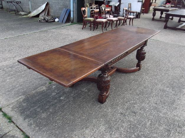 Antique Dining Table   10ft Jacobean Revival Oak Drawleaf Extending  Refectory Table To Seat 12 People
