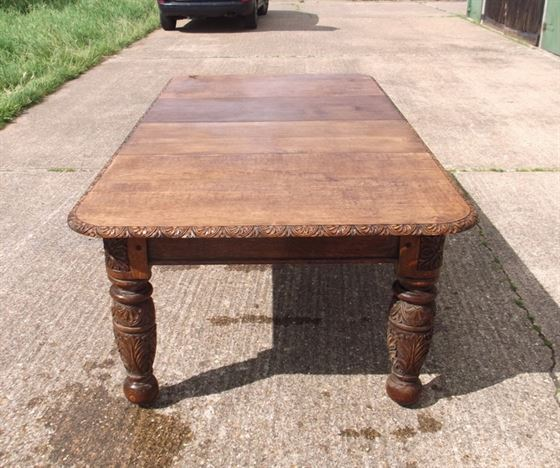 ... Table - 8ft Victorian Carved Oak Extending Dining Table To Seat 10