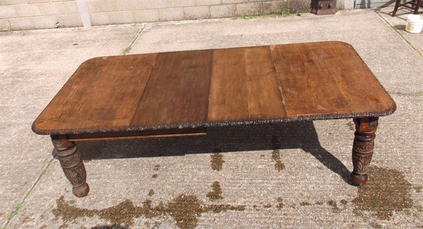 Antique dining table 8ft victorian carved oak extending dining table