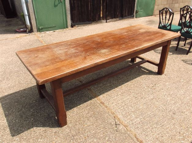 Antique Dining Table Refectory - 8ft Plank Top Oak Refectory Table With Drawers