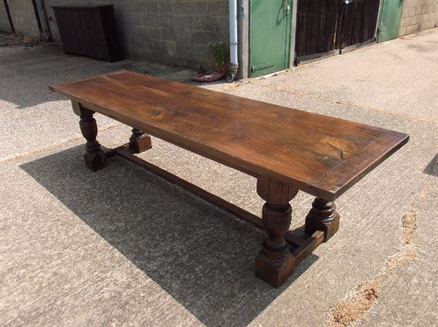 Antique Dining Table Refectory - 9ft Plank Top Oak Refectory Table With Baluster Legs