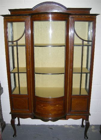 ANTIQUE DISPLAY CABINET - Sheraton Revival Edwardian Mahogany And