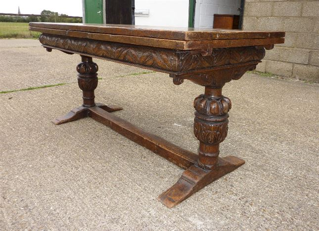 Antique English Oak Refectory Table - Large Early Period English Revival  Oak Extending Refectory Table To - ANTIQUE FURNITURE WAREHOUSE - Antique English Oak Refectory Table
