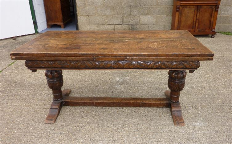 Antique English Oak Refectory Table   Large Early Period English Revival Oak  Extending Refectory Table To
