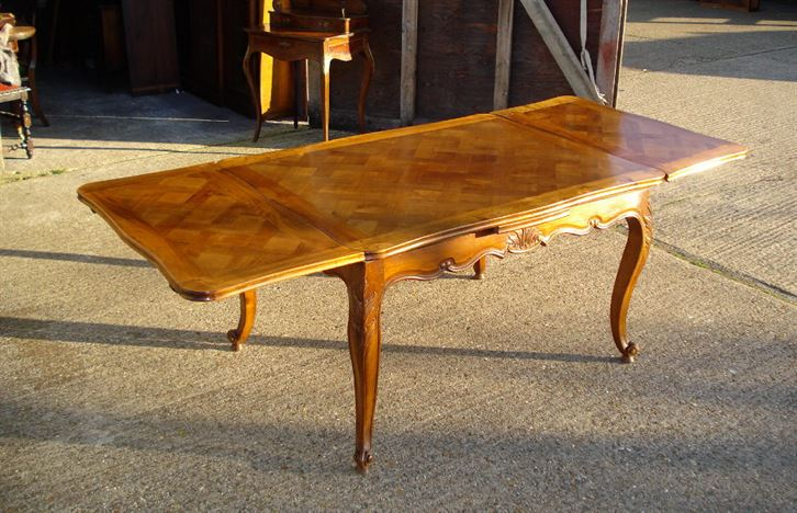 Antique Farmhouse Table   French Cherry Wood Parquet Top Drawleaf Extending  Table 7 Feet 6 Inches Long To Seat Upto 10 People