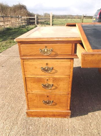 Antique Full Partners Desk - Large Victorian Partners Desk Drawers Both Sides
