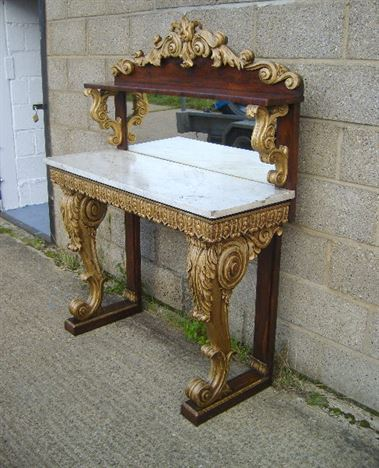 Superb Antique Georgian Console Table   High Regency Rosewood And Gilt Console  Hall Table