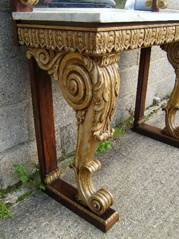 Exceptional Antique Georgian Console Table   High Regency Rosewood And Gilt Console  Hall Table