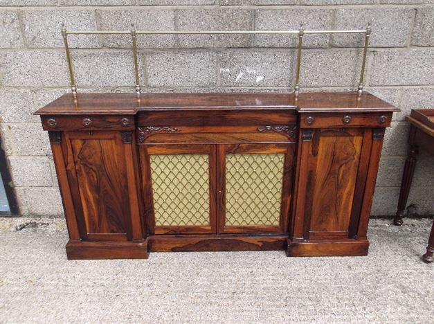 Captivating Antique Hall Cabinet   Regency Rosewood Cabinet Credenza Of Shallow Depth