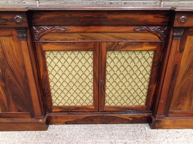 Antique Hall Cabinet - Regency Rosewood Cabinet Credenza Of Shallow Depth - ANTIQUE FURNITURE WAREHOUSE - Antique Hall Cabinet - Regency