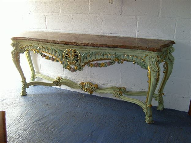 Antique Hall Console Table   Large French Rococo Painted And Gilt Marble  Top Console Table