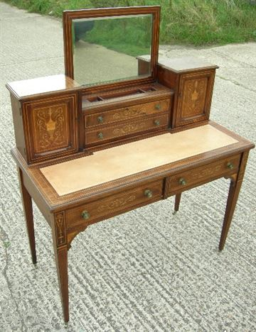 ANTIQUE LADIES WRITING DESK - Sheraton Revival 19th Century Rosewood And  Inlaid Bonheur Du Jour Ladies - ANTIQUE FURNITURE WAREHOUSE - ANTIQUE LADIES WRITING DESK