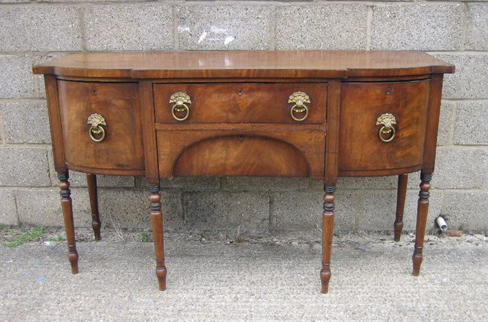 ANTIQUE FURNITURE WAREHOUSE - Antique Large Georgian Sideboard - Georgian Mahogany Bowfronted ...