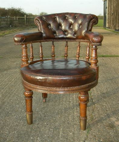 Antique Leather Desk Chair - Late 19th Century Victorian leather desk chair - ANTIQUE FURNITURE WAREHOUSE - Antique Leather Desk Chair - Late 19th