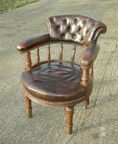 Antique Leather Desk Chair   Late 19th Century Victorian Leather Desk Chair