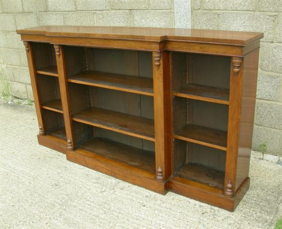 Antique Library Open Bookcase - Large Figured Walnut Victorian Breakfront Library  Bookcase