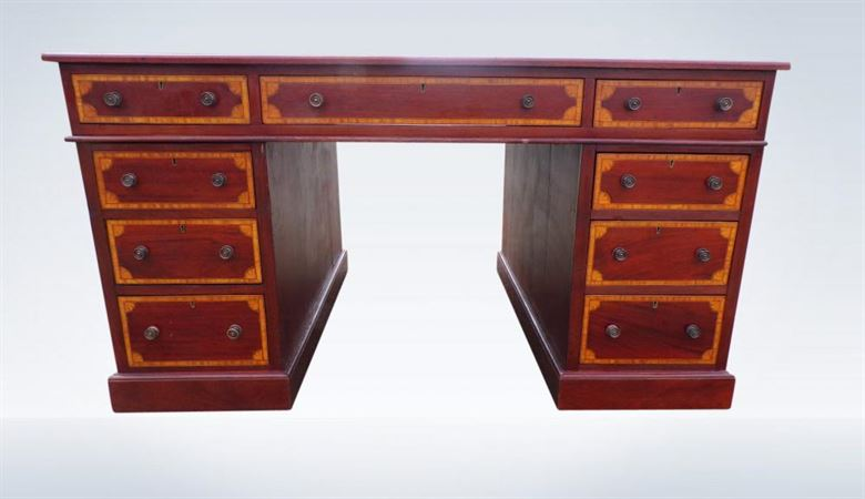 Phenomenal Antique Mahogany Partners Desk Large 5Ft Edwardian Eighteen Drawers Leather Top Download Free Architecture Designs Scobabritishbridgeorg
