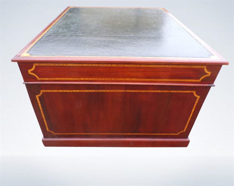 Antique Mahogany Partners Desk Large 5ft Edwardian Eighteen Drawers Leather Top