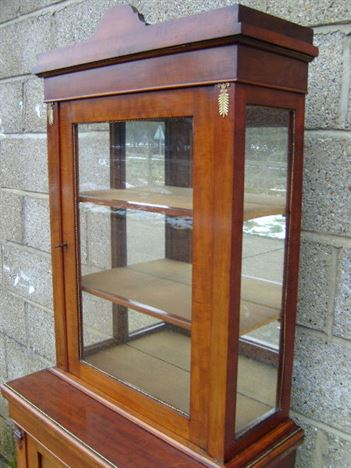 Antique Narrow Display Cabinet - Small And Narrow Victorian Display Cabinet  With Cupboard - ANTIQUE FURNITURE WAREHOUSE - Antique Narrow Display Cabinet - Small