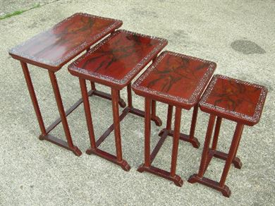 Antique Nest 4 Four Coffee Tables - Nest Of 4 Four Late 19th Century Chinese Lacquer Work Quartetto Occasional Tables
