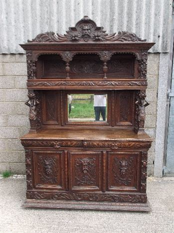 Antique Oak Carved Sideboard - Large Late 19th Century Jacobean Revival Oak Sideboard