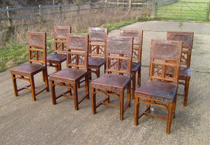 Antique Oak Dining Chairs - Set Of Eight Gothic Oak And Leather Jacobean  Style Dining Chairs - ANTIQUE FURNITURE WAREHOUSE - Antique Oak Dining Chairs - Set Of