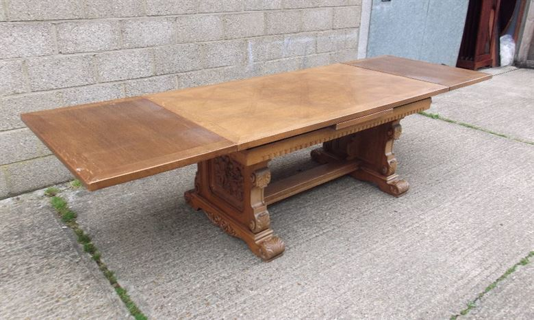 Antique Oak Refectory Table - 10ft Draw Leaf Late Victorian Oak Refectory Table To Seat Up To 12 People