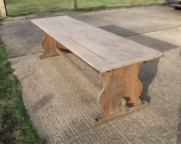 Antique Oak Refectory Table - 3 Metre 10 Ft Farmhouse Refectory Table With Trestle End Support Base To Seat 12 Comfortably