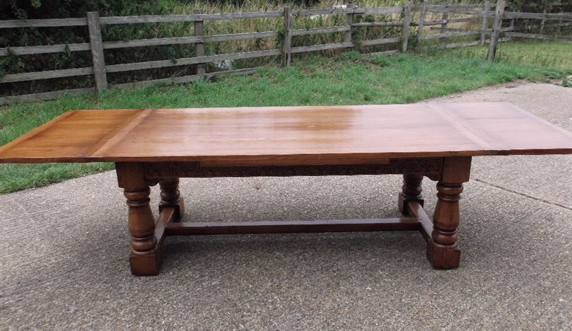 Antique Oak Refectory Table - Large 10ft Jacobean Revival Oak Drawleaf Refectory Table
