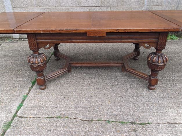 Antique Oak Refectory Table - Large Jacobean Oak Drawleaf Refectory Table