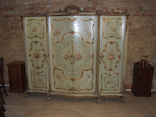Italian Rococo Style Painted Wardrobe Antique Wardrobe Uk